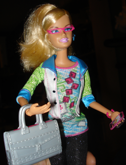 Barbie ready for work with her laptop case
