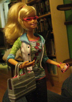 Barbie with laptop case in different lighting