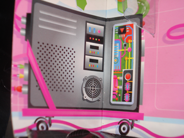 Still on the box illustrations, a tower CPU open showing circuit boards. Inside the open CPU case, an upside down pink triangle in a black border.