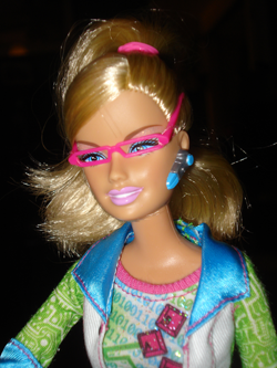 Barbie's face.