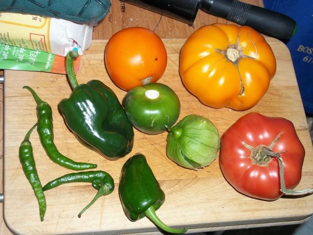 Tomatoes, peppers, and tomatillos
